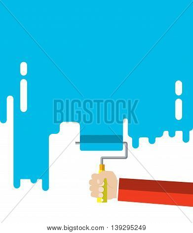 Mens hand holds a paint roller with a blue color. Interior design, repair concept. vector illustration flat design. Blank template for your text