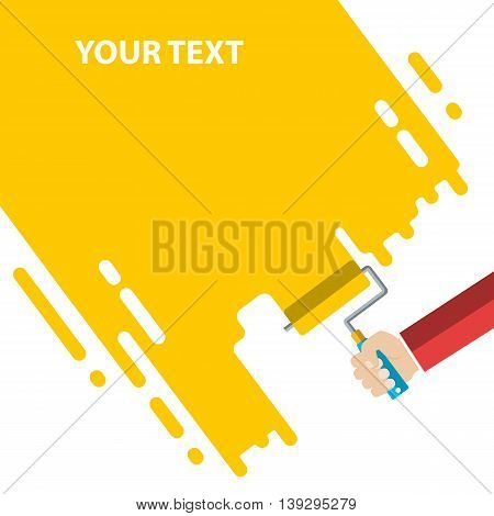 Mens hand holds a paint roller with a yellow color. Interior design, repair concept. vector illustration flat design. Blank template for your text