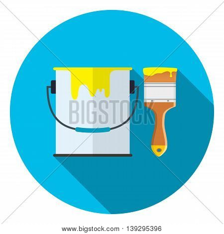 Bucket of paint and brush icon with long shadow. Vector illustration in flat style