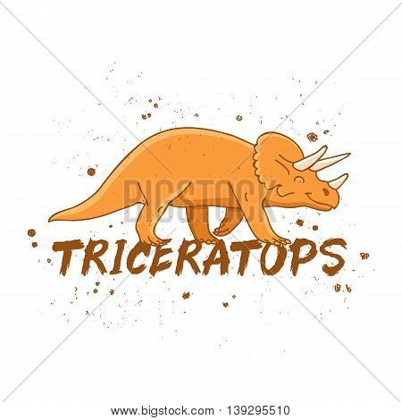 Triceratops. Large orange dinosaur. The trend calligraphy. Vector illustration on white background. Excellent print on a T-shirt.