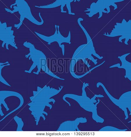 Seamless vector pattern of different dinosaurs on a blue background. Wrapping paper. Children print.