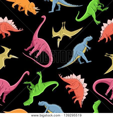 Seamless vector pattern of different dinosaurs on a black background. Wrapping paper. Children print.