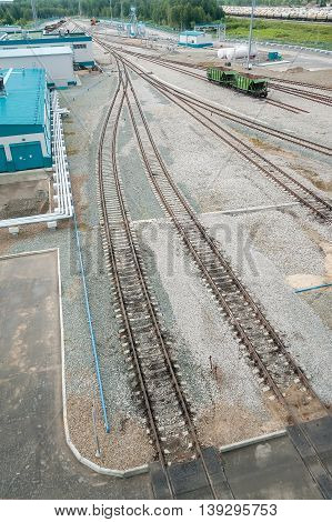 Tobolsk, Russia - July 15. 2016: Sibur company. Denisovka railway station of petrochemical plant