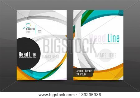 Colorful swirl design annual report cover template. Brochure, flyer template layout, vector leaflet abstract background, A4 size page