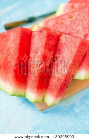 Fresh ripe watermelon slices served selective focus