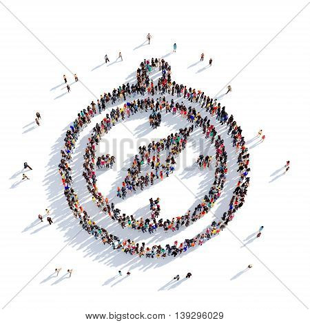 Large and creative group of people gathered together in the shape of compass direction. 3D illustration, isolated against a white background. 3D-rendering.