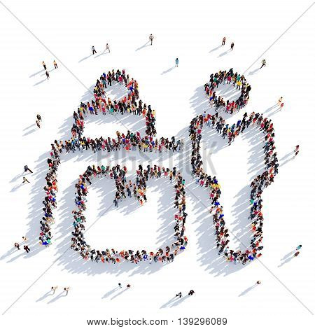 Large and creative group of people gathered together in the shape of registration of parcels, mail. 3D illustration, isolated against a white background. 3D-rendering.