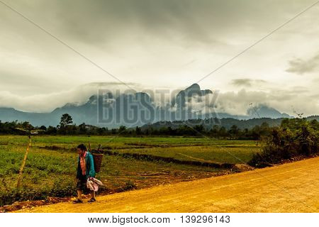 A woman carrying a basket on her back trudges along a dirt road through the green and mountainous Laos countryside