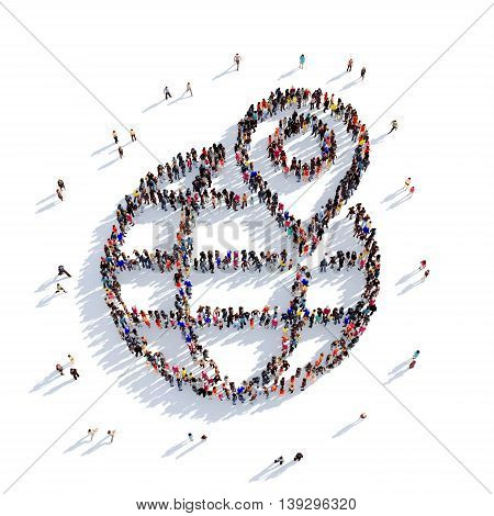 Large and creative group of people gathered together in the shape of a map pointer , globe . 3D illustration, isolated against a white background. 3D-rendering.