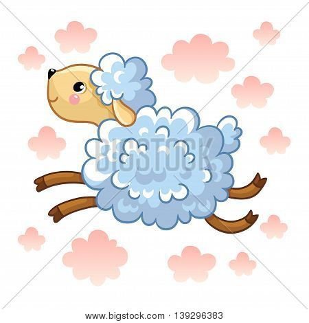 Farm animal. Vector illustration of lamb on a white background with clouds.