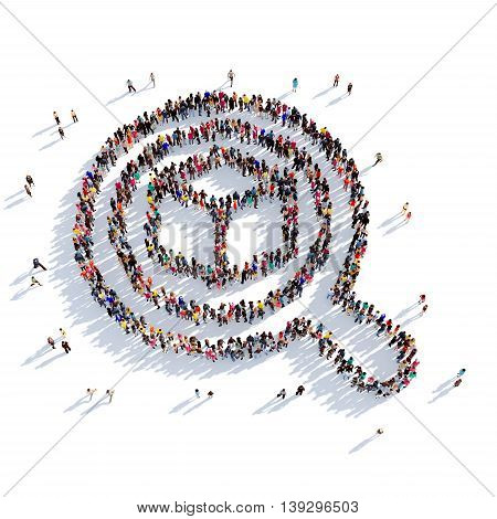 Large and creative group of people gathered together in the shape of search parcel mail. 3D illustration, isolated against a white background. 3D-rendering.