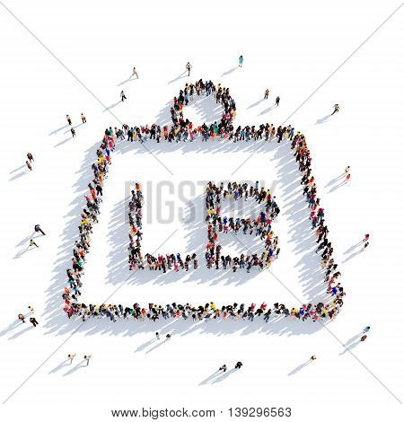 Large and creative group of people gathered together in the shape of weight. 3D illustration, isolated against a white background. 3D-rendering.