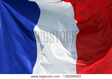 full framed french flag floating in the wind exact colors