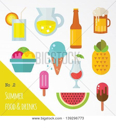icon set of summer food and drinks. vector illustration