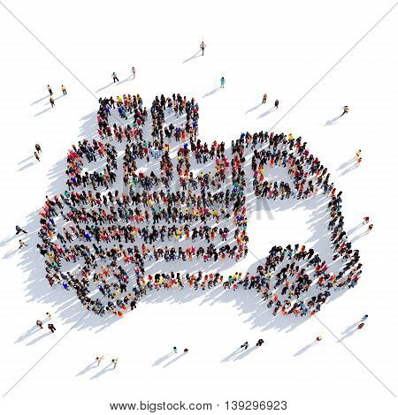 Large and creative group of people gathered together in the shape of car , mail delivery. 3D illustration, isolated against a white background. 3D-rendering.