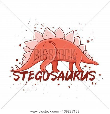 Stegosaurus. Big red dinosaur. The trend calligraphy. Vector illustration on white background. Excellent print on a T-shirt.