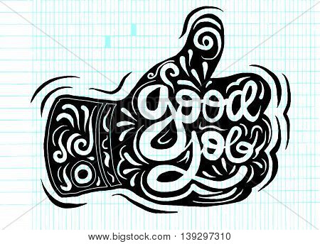 Thumb Up Vector Icon. Style Is Flat Symbol,doodles Vector Illust