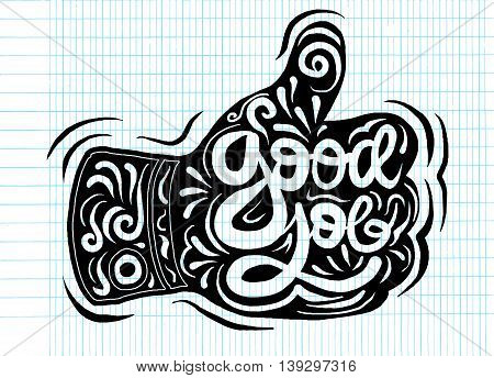 Thumb Up Vector Icon. Style Is Flat Symbol,doodles Vector Illustration.
