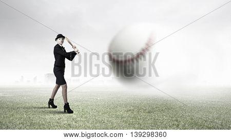 Woman play baseball . Mixed media