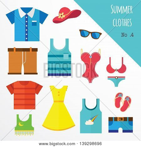 set of clothes for men and women. Fashion icons. Vector illustration