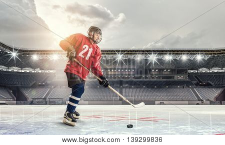 Hockey player on ice   . Mixed media