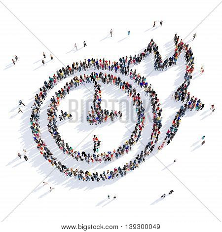 Large and creative group of people gathered together in the shape of a sign of the clock, fast mail delivery. 3D illustration, isolated against a white background. 3D-rendering.