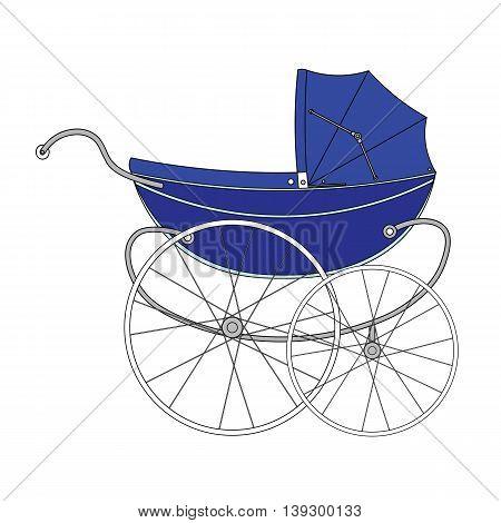 Vintage blue old authentic vintage stroller with big wheels for little newborn baby boy.
