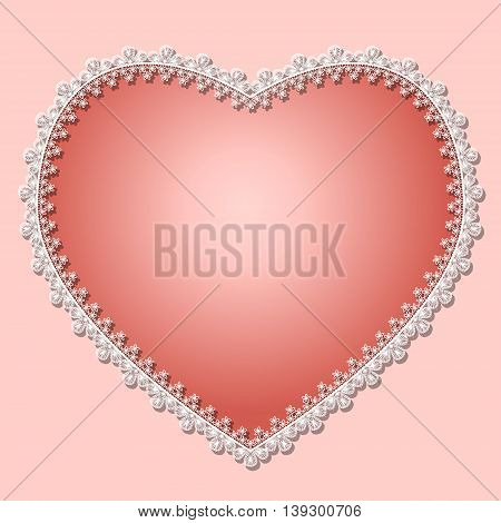 heart with white lace and shadow on a pink background
