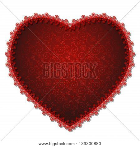 heart with red lace and shadow on a white background