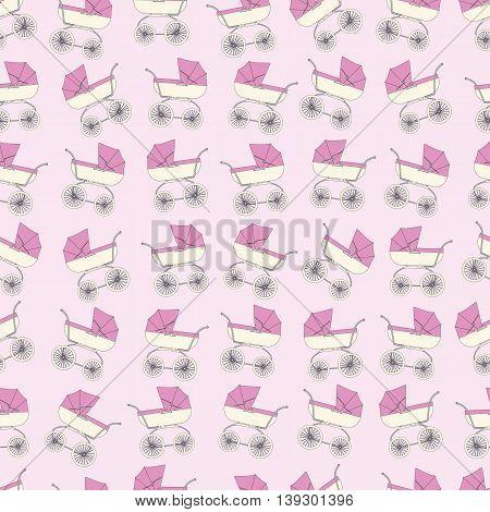 Background pink cartoon children's stroller for a newborn baby girl.
