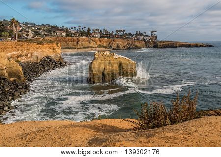 Bird Rock and cliffs at Sunset Cliffs in San Diego, California.