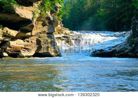 mountain river, cascade, rocky coast and forest