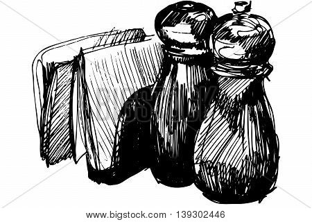 black and white vector sketch pepper shaker and napkin