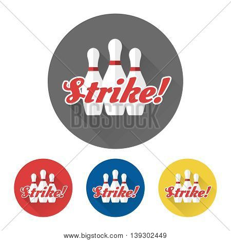 Flat skittles set and word Strike. Bowling icons vector
