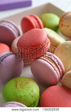 Heap of tasty colorful macaroons, close up
