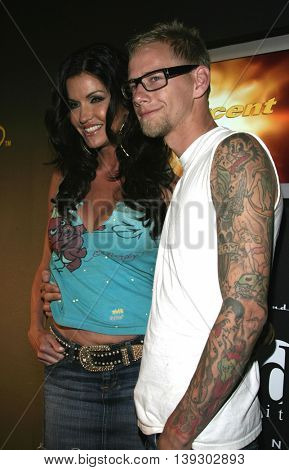 Janice Dickinson and Tommy Fry at Christian Audigier Fashion Show featuring new Ed Hardy label held in Hollywood, USA on May 21, 2005.