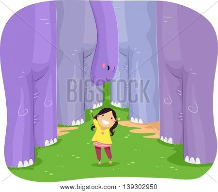 Illustration of a Little Girl Playing with a Brontosaurus