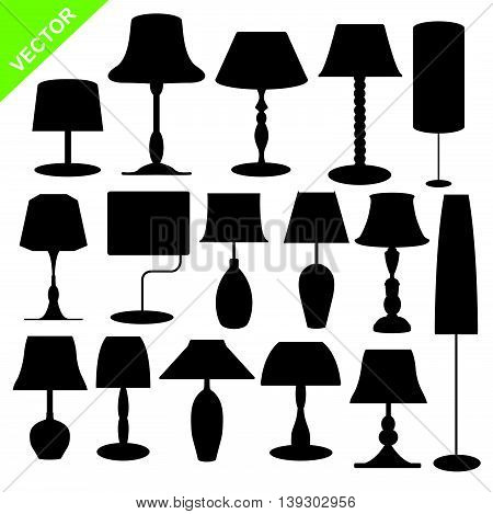 Set of silhouette lamp on white color background