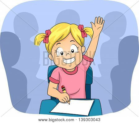 Illustration of a Little Girl Raising Her Hand in Class