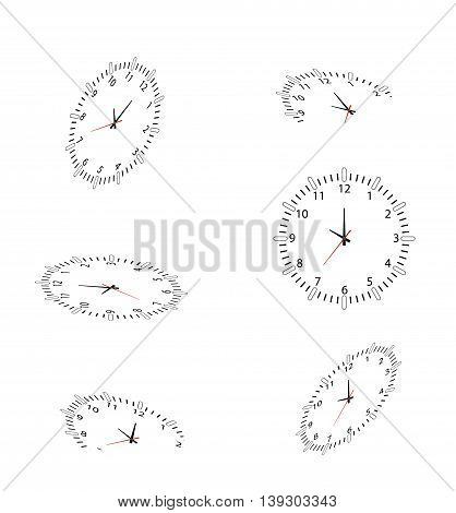 collection of clocks silhouette for you design