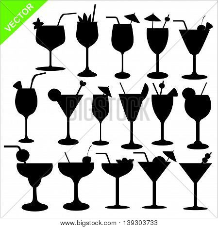 Set of cocktail silhouettes vector on white color background