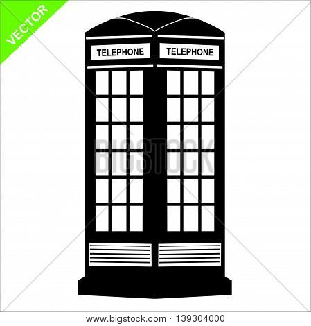 The silhouette call box vector on white color background