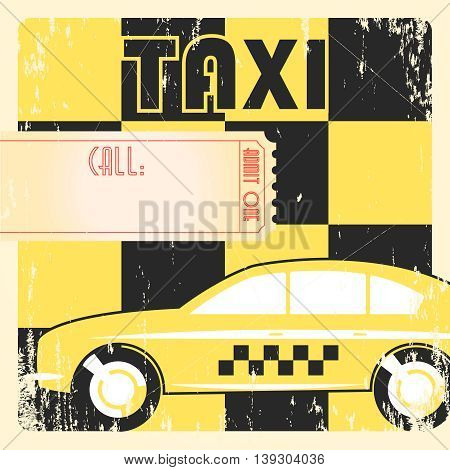 Taxi cab retro grunge checkered yellow poster.