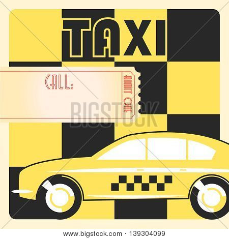 Taxi cab retro vintage checkered yellow poster.