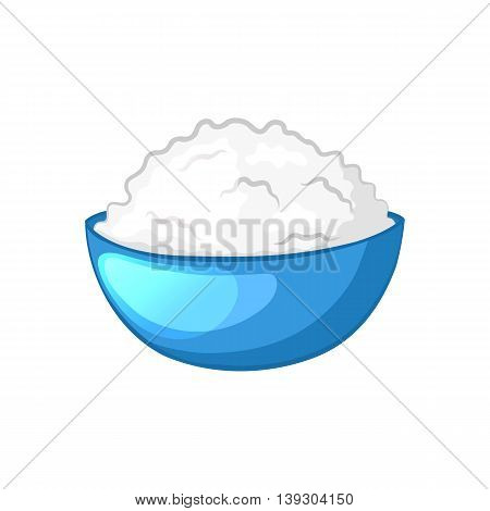 Cottage cheese in blue bowl. Dairy product. Cartoon icon. Isolated object on a white background. Vector illustration.