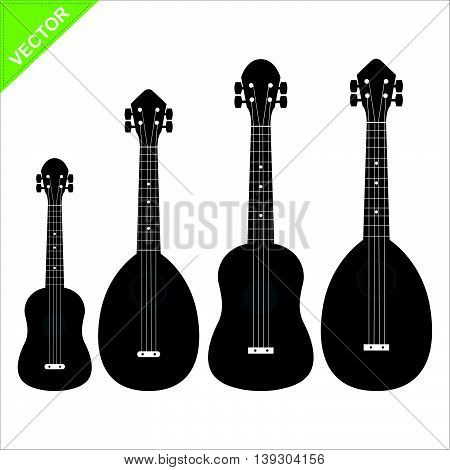 Set of silhouettes ukulele vector on white color background