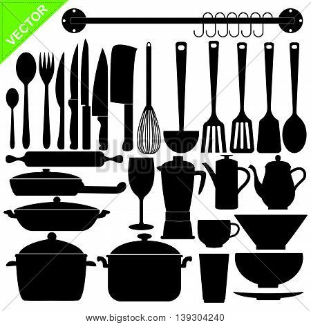 Set of kitchen tools silhouettes vector on white color background