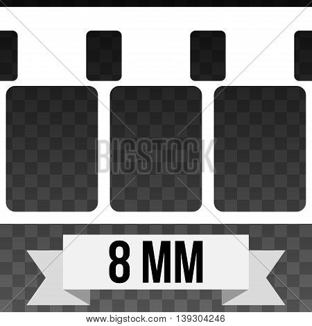 Vector 8 mm Film Strip Illustration on Black transparent Background. Abstract Film Strip design template. Film Strip Seamless Pattern.