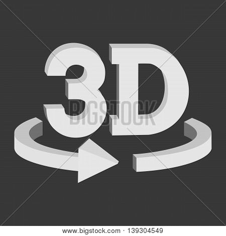 3D rotate button sign in solid grayscale colors icon on black background. Blank horisontal rotation arrow. Vector illustration.