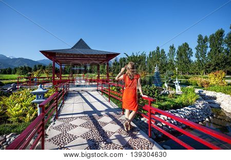 Tourist In Japanese Pagoda